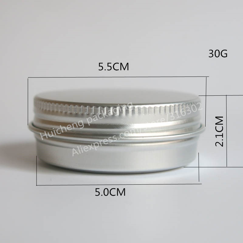 Купить с кэшбэком 50 x 30g aluminum jar 30 gram metal cream jar 1 oz silver aluminum tin 30 g metal cosmetic container