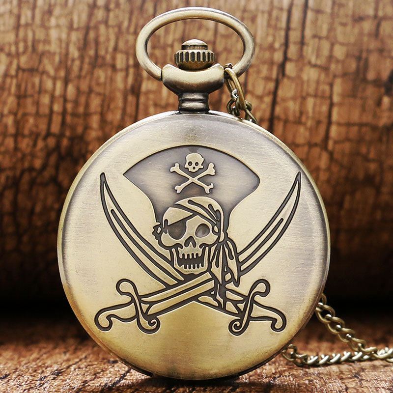 Fashion Bronze Pirate Skull Bone Theme Fob Pocket Pendant Watch With Necklace Gift Chain Free Shipping