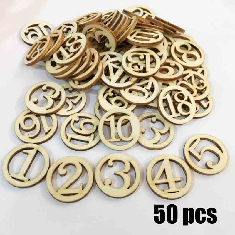 50 Pcs Creative Round Digital Wooden Chips For With Number Tree Bark Log Discs For Diy Crafts Wedding Party Painting Decoration