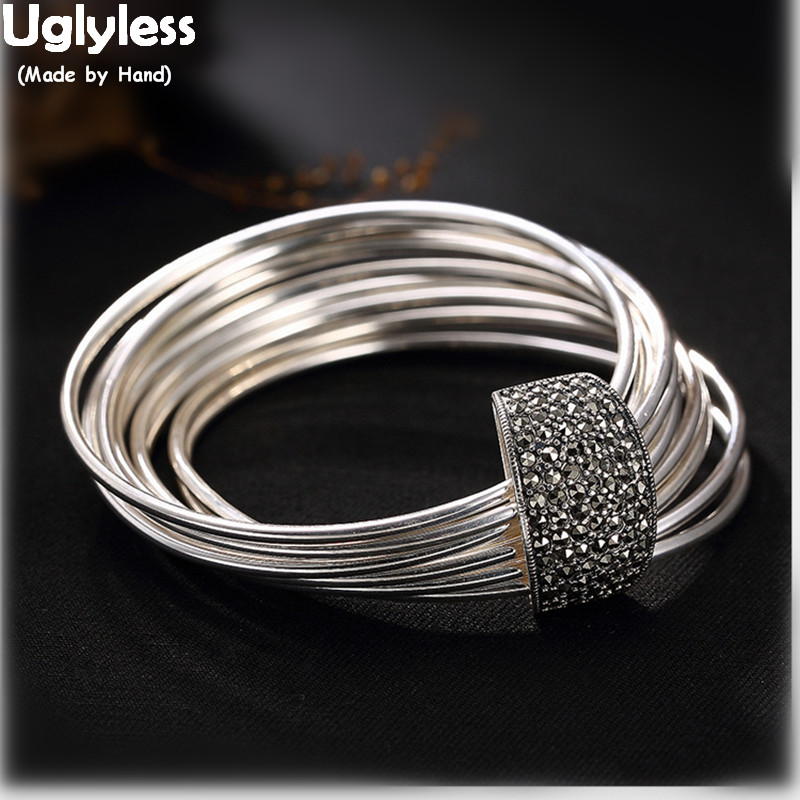 Uglyless Real 925 Sterling Silver Personalized Multi Circles Bangles Women Vintage Fine Jewelry Cool Marcasite Bijoux