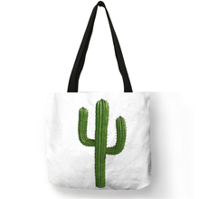 Custom Watercolor Tropical Plant Pineapple Cactus Print Travel Reusable Tote Bag