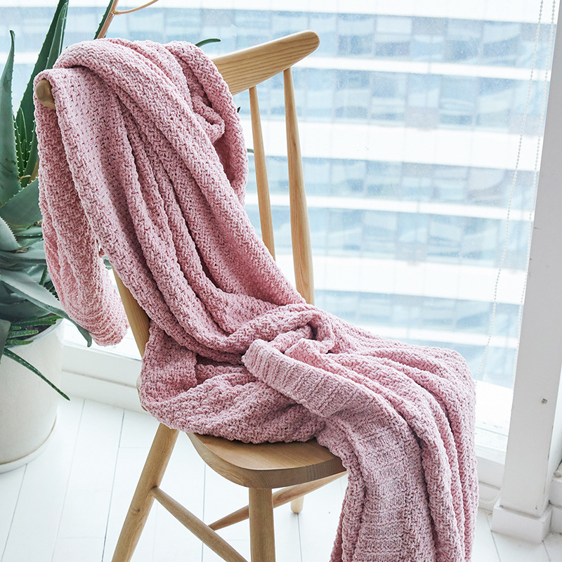 Nordic Solid Sleeping Knitted Blankets Decorative Blanket Warm Sweater Pink Light Gray Lady Throws Sofa Blankets