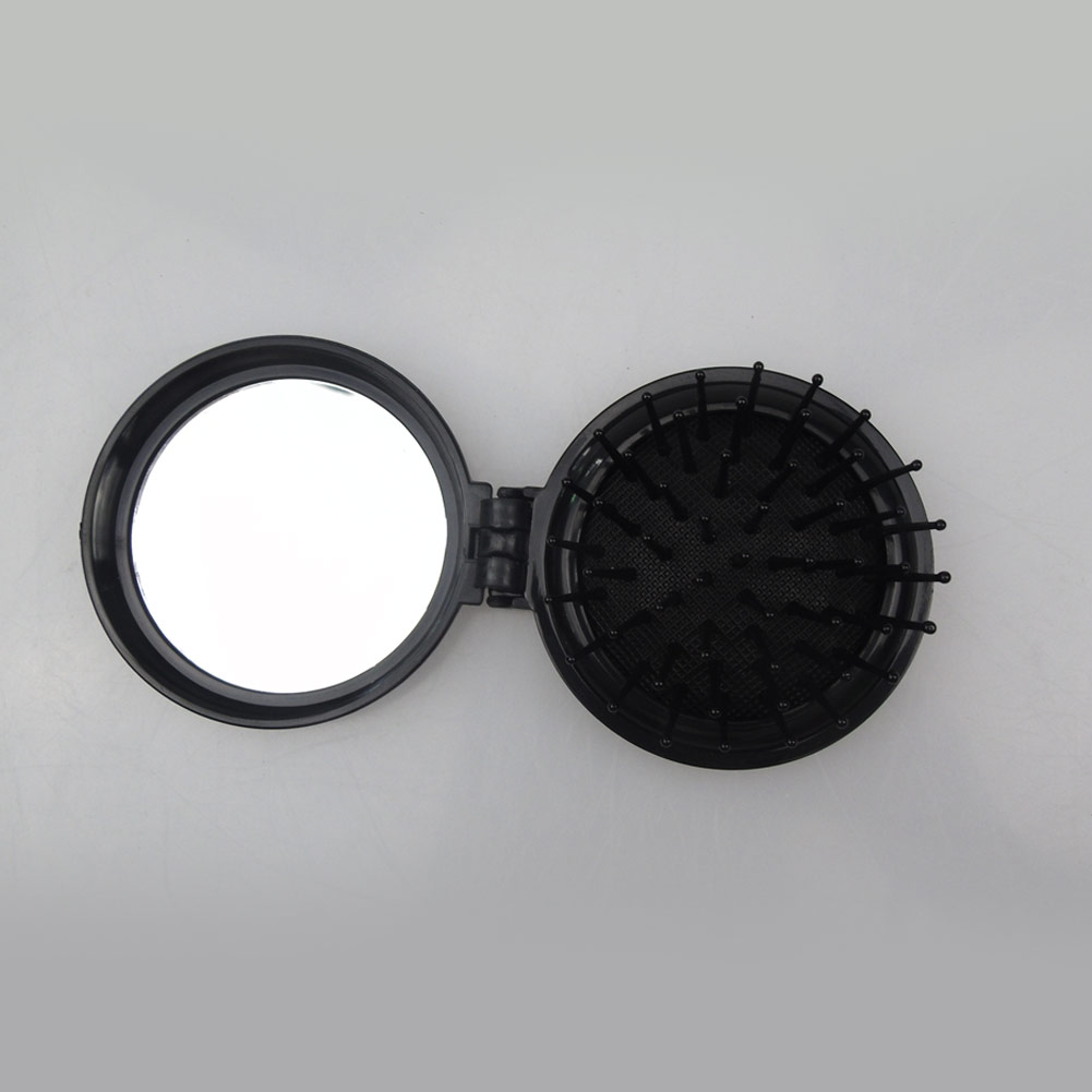 Купить с кэшбэком Magic Pocket Folding mirror comb anti-static Hair Brush Mirror Portable Travel Massage  Girl HairBrush With MINI Round Mirror