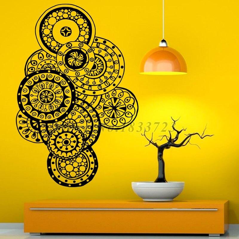 Mehndi Sticker Wall Decals Removable Vinyl Room Decorations Mandalas Lotus Wall Stickers Home Decor