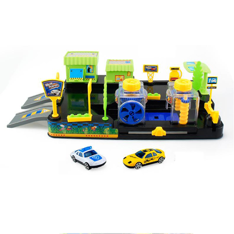 Kids Car Tracks Parking Set Educational Toys For Children Wheels Carwash And Gas Station For Boys DIY Car Scene Block