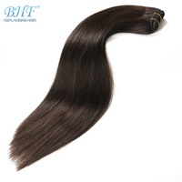 BHF 100% Human Hair Weaves Straight Russian Remy Natural Hair Weft 1piece 100g 1820 22 24' Black Brown Blonde Color