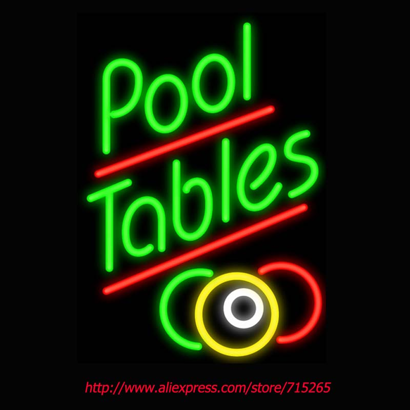 Pool Tables Neon Sign Board Neon Bulbs Light Guarage Display Real GlassTube Custom Handcrafted Business Light Decorate 20x15