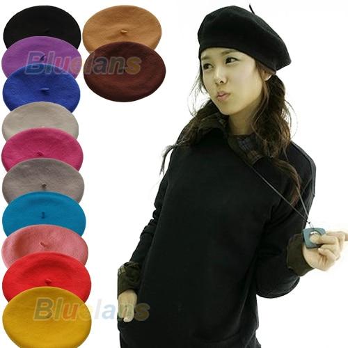 100% QualitäT New Fashion Solid Color Warm Wolle Winter-frauen-mädchen-beret Französisch Artist Beanie 12 Farben 96iw