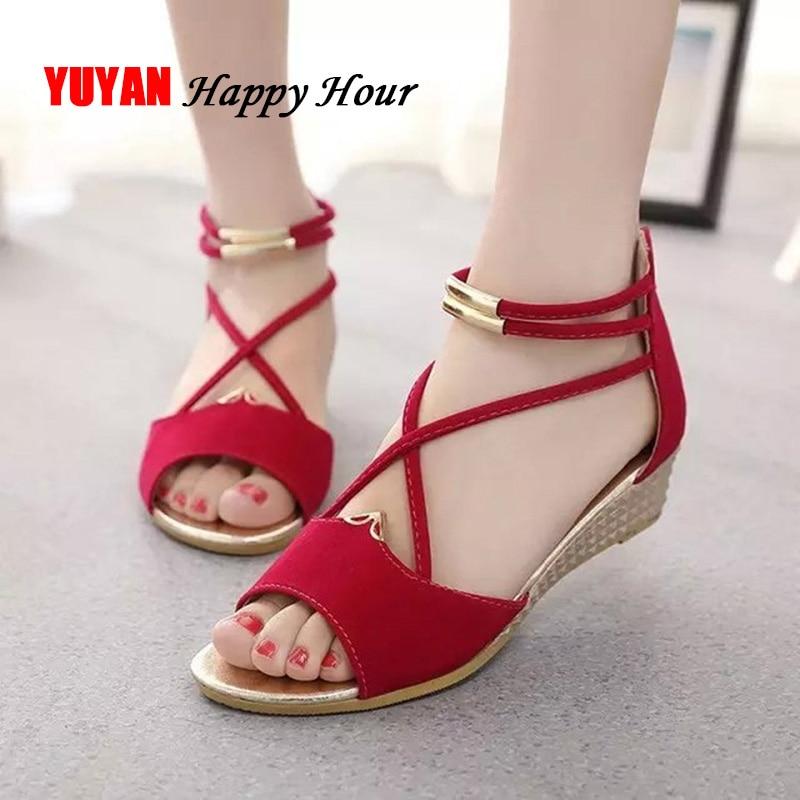 Sandals Women Wedge-Shoes Blue Black Peep-Toe Summer Ladies Red YX679
