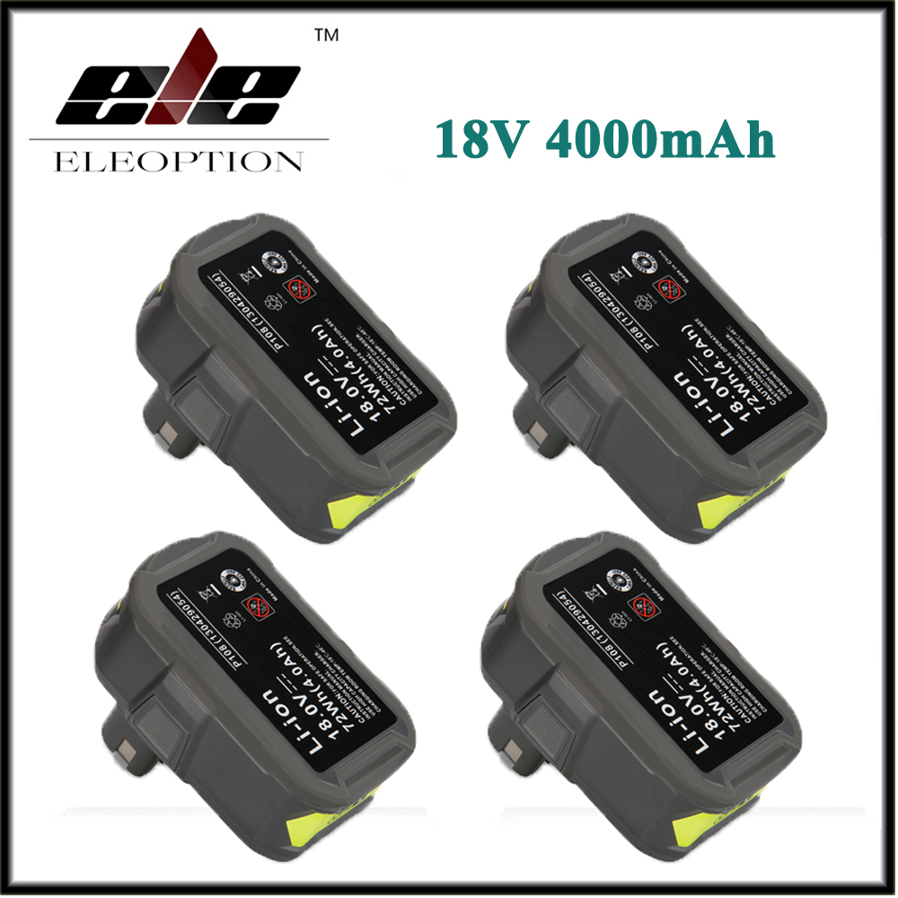 New 4x High Capacity P108 18V 4000mAh Li Ion For Ryobi RB18L40 P300 P400 Rechargeable font