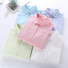 New Brand Women's Tops Clothing Oxford Cotton Blends Blouse Lapel Blouse White Shirt Female Long Sleeve Office Ladies Shirts