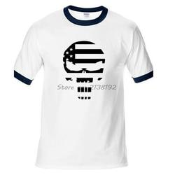 Hip hop streetwear crânio marinha seal equipe legend impresso t camisa nova verão algodão raglan t homme