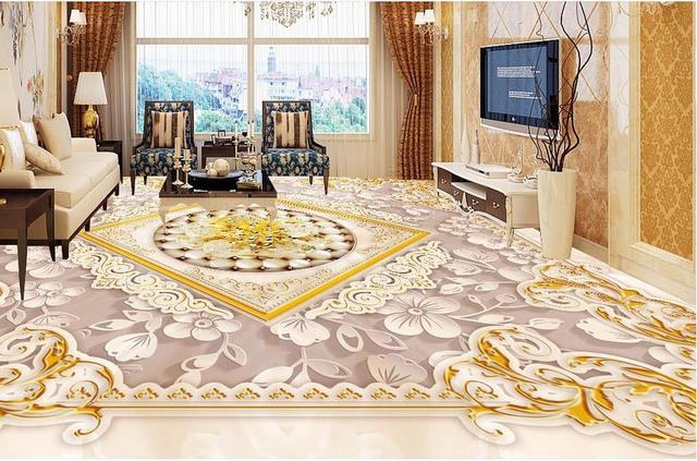 Custom 3d Floor Mural Gold Pattern Wall Papers Home Decor Living Room 3d  Bathroom Tile Floor