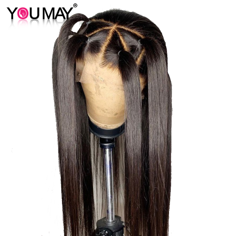 Transparent 360 Lace Frontal Wigs For Women Pre Plucked Transparent Lace Human Hair Wigs Straight Brazilian 150% You May Remy