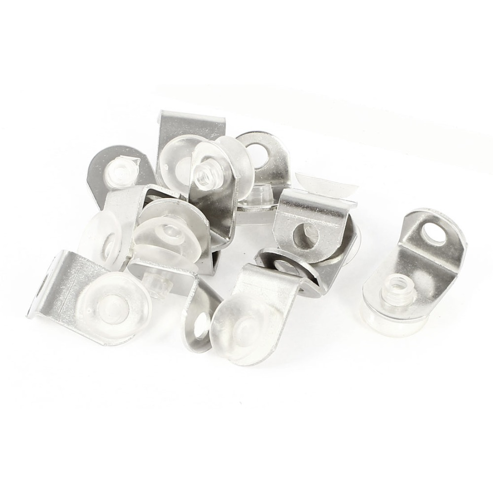 uxcell 8 Pcs Silver Tone Metal Glass Shelf Support Holder w Suction Cup