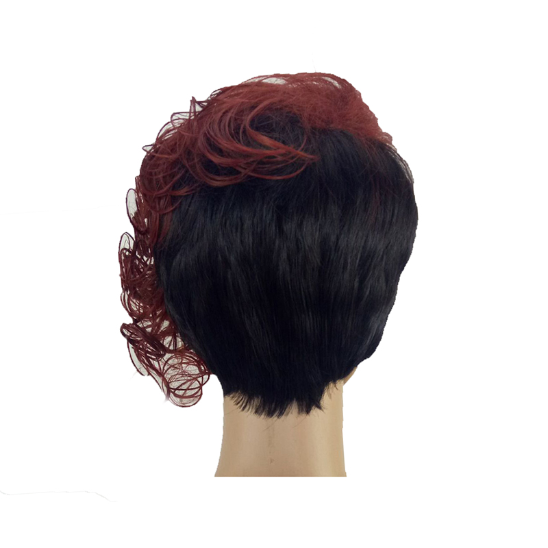 HAIRJOY Women Synthetic 1B Burgundy 2 Tones Double Color Hair Short Curly Heat Resistant Wig Free Shipping in Synthetic None Lace Wigs from Hair Extensions Wigs