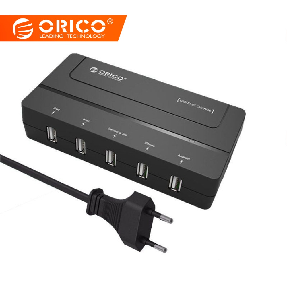 ORICO 5 Ports Micro Desktop USB Fast Charger 5V 6A Max 30W for iPhone 6s / 7 / 6 plus iPad Android Samsung Tab Galaxy S6 Black