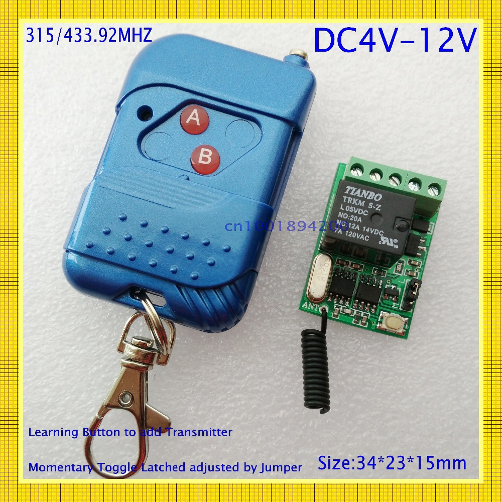 DC 12V 1CH 10A Relay Mini Remote Switch4V 5V 6V 8V 9V 12V Wide Working Voltage RF Wireless Switch Power Remote ON OFF Switch ASK