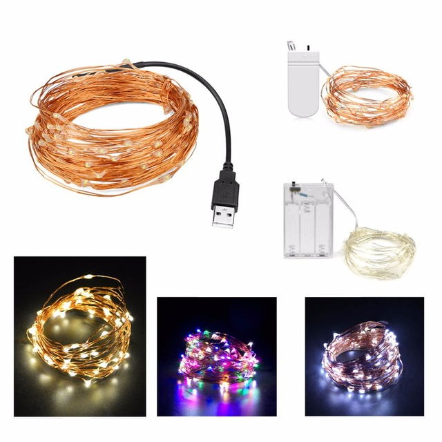2m 5m 10m USB LED strip light Battery Powered RGB Copper Wire ...