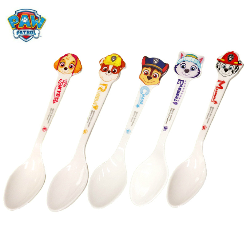 PAW PATROL baby spoons feeding dishes Tableware for children flatware cutlery <font><b>colher</b></font> spoon silicone tools-for-patchwork lot soup image