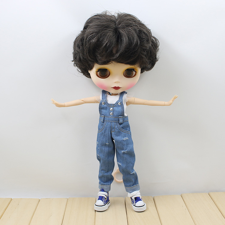 Free shipping blyth nude doll joint body  cute short hair DIY doll toys for girls free shipping nude blyth doll brown wavy wig doll toys for girls