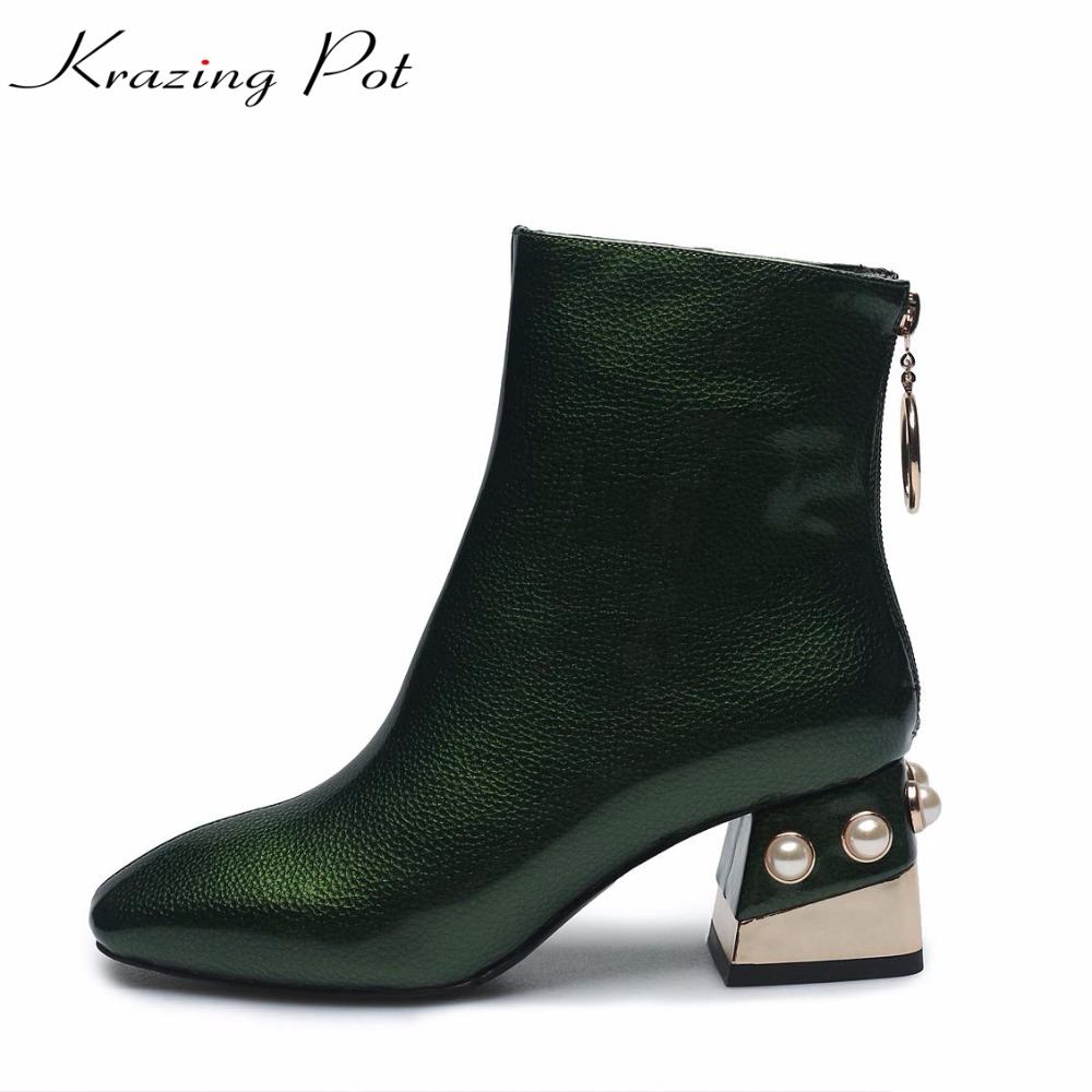 Krazing Pot cow leather pearl decorations square toe high heels big size warm women metal buckle