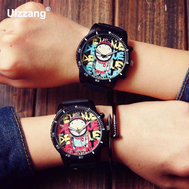 Fashion Graffiti Stylish Big Dial Rubber Strap Japan Core Quartz Analog Wrist Watch Hours Gift for Men Male Boy