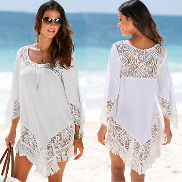 8fd5ed68298 Pareo Beach To Swimsuit Coverup Beachwear Saida De Long Bathing Suit Cover  Ups For Women 2018 Skirt Female Drying Polyester Lace
