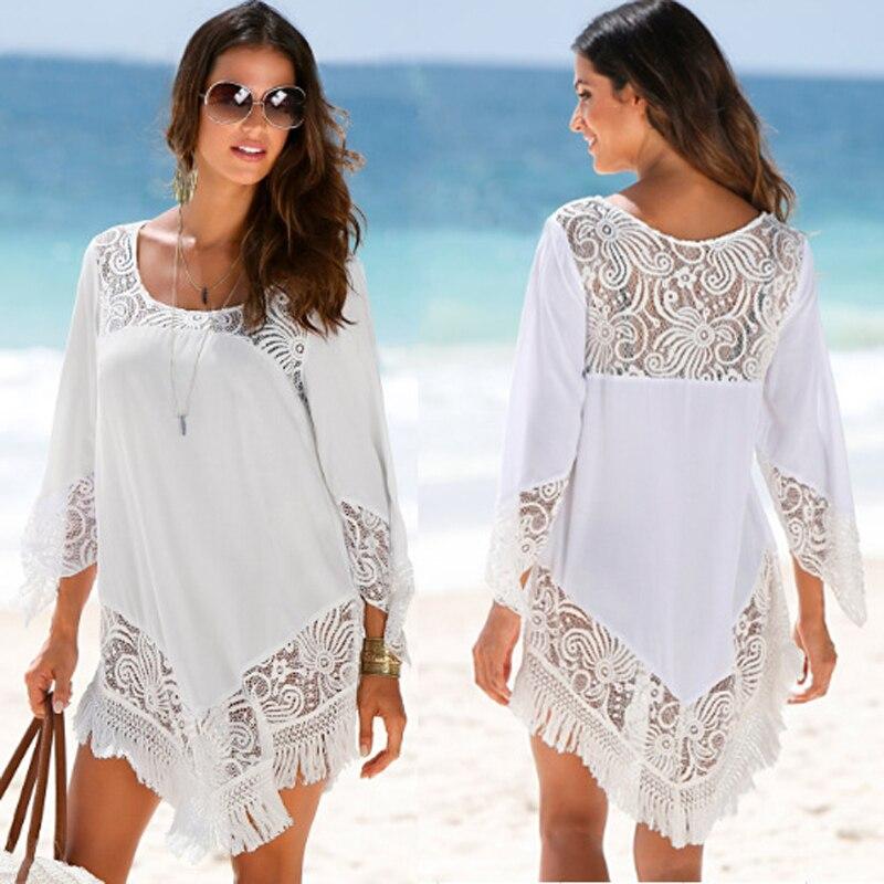 Pareo Strand Zu Badeanzug Vertuschung Beachwear Saida De Lange Badeanzug Abdeckung Ups Für Frauen 2018 Rock Weibliche Trocknen Polyester spitze