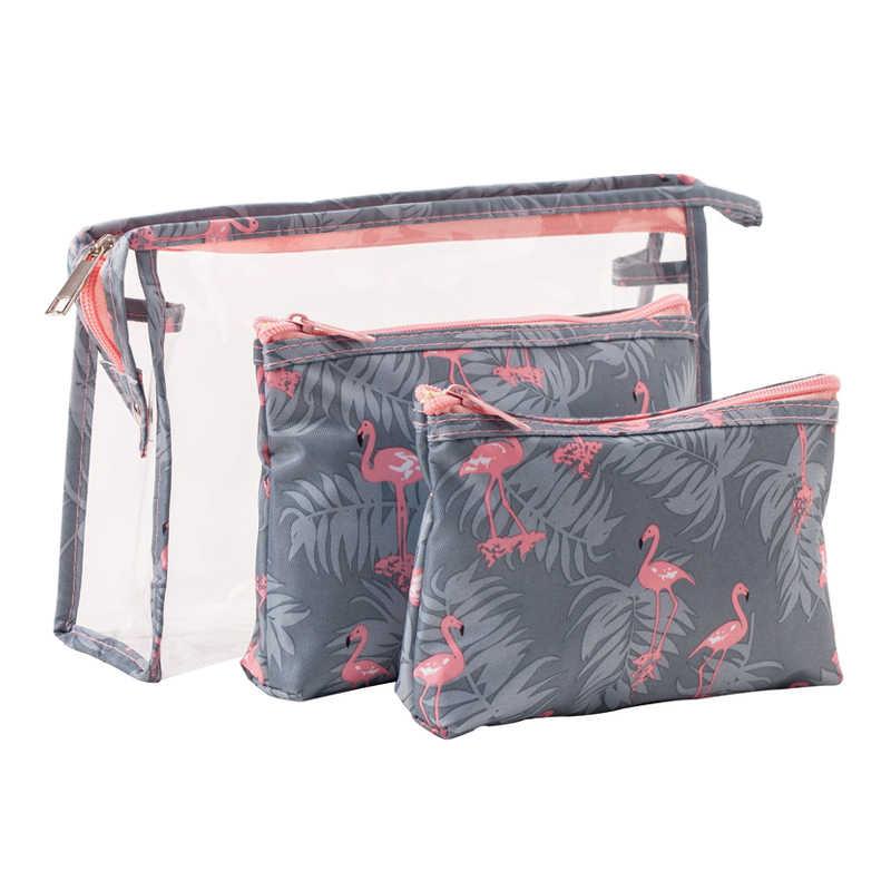 3 pçs/set Flamingo PVC Transparente Cosméticos Saco das Mulheres Bolsa de Maquiagem Escova Menina Lápis Caso de Higiene Pessoal Travel Organizer Acessórios