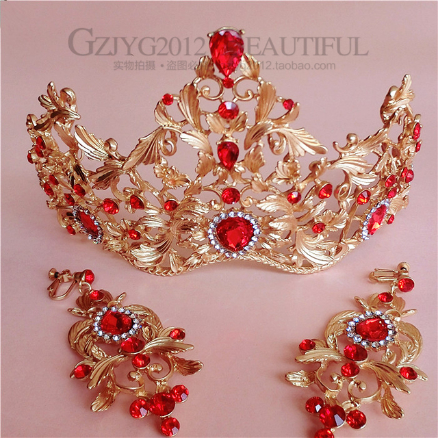 jewelry Baroque style vintage Exaggerated Colorful Luxury Big Crown Gold Plated TapesCrystal Hairband Women Hair Accessories