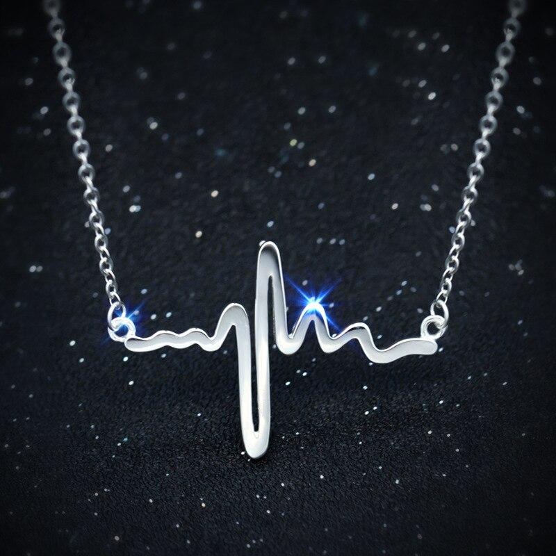 Īsts. 925 sudraba krāsas Lifeline pulsa un atvērtas sirds kulonu - Skaistas rotaslietas