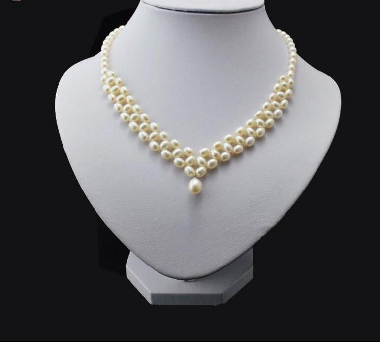 New 418+++5-6mm multi-layer natural freshwater rice shaped pearls, fancy rice pearl necklace fifty shades darker no bounds riding crop длинный стек из натуральной кожи
