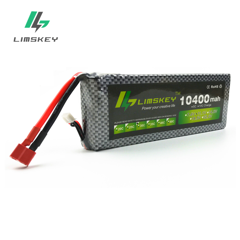 Limskey Power 11.1V 10400mAh 3s Lipo Battery 30C Batteries And Charger XT60 / T Plug For RC Helicopter Quadcopter Drone Part