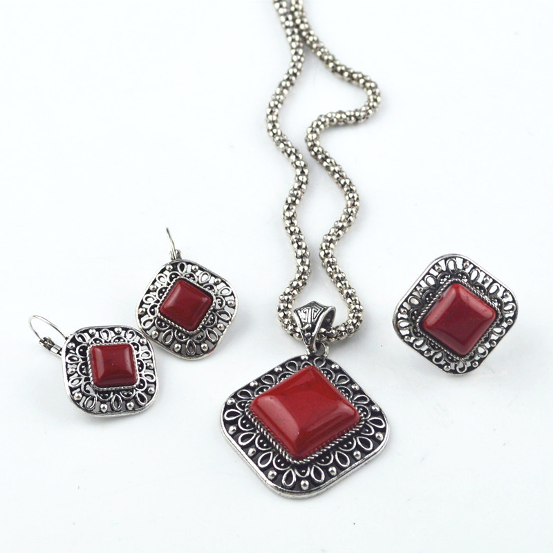 SD15 Red Square Earring & Necklace & Adjustable Ring Vintage Look Jewelry Necklace Pendant Factory Price Wholesale