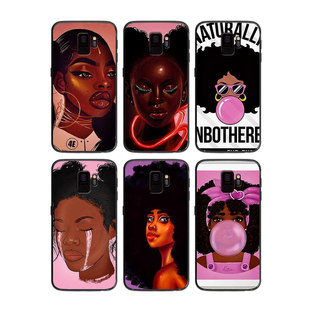 África belleza Afro Puffs para Samsung Galaxy A5 A6 A7 A8 A9 2018 más de 2019 M10 M20 M30 teléfono caso