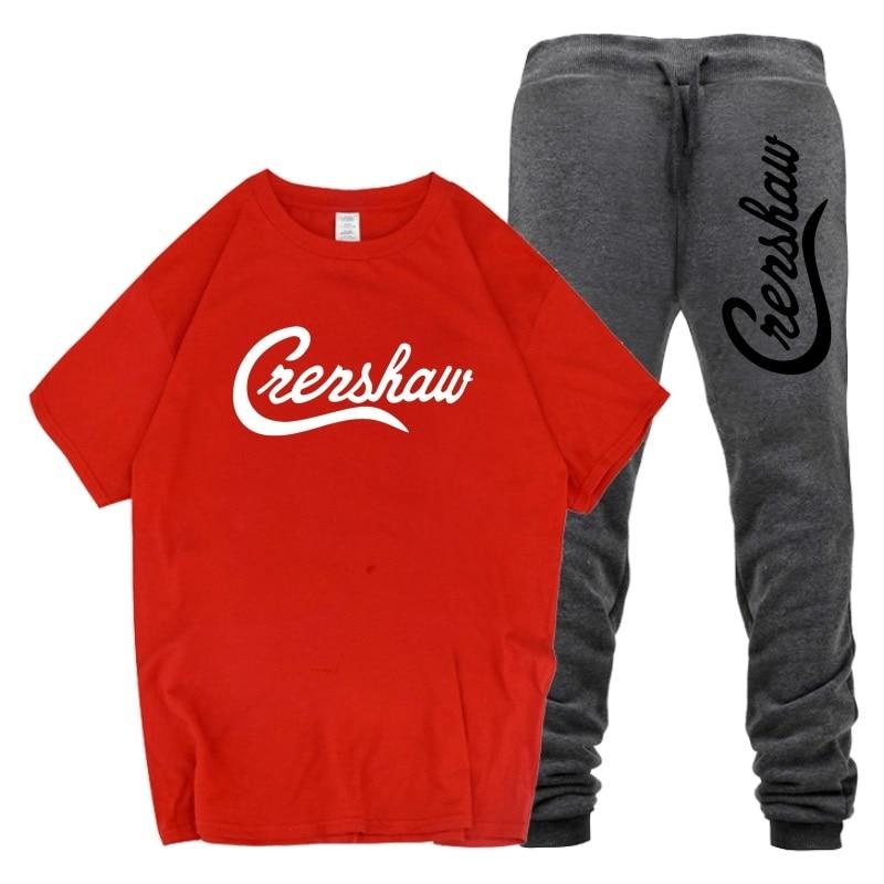 Men Outfits Nipsey Hussle Hip Hop 2 Piece Set Men T-Shirt Two Piece Short Set For Men's Crop Top Men Clothing Crenshaw Sets