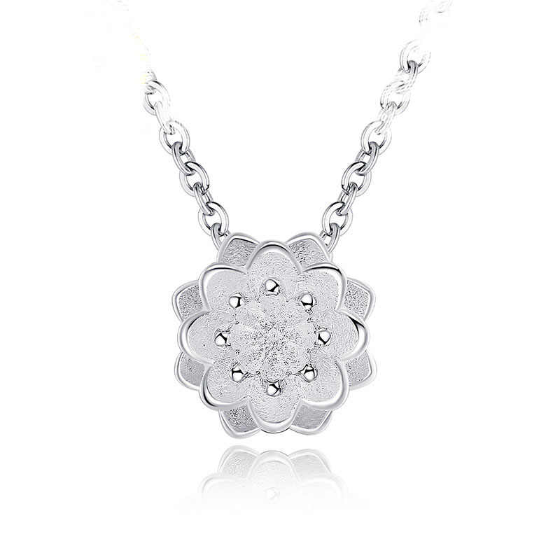 Free Shipping Charm Beautiful Accessories Women Classical 925 Sterling Silver  Pendants 3D Lotus Design Girls Necklace