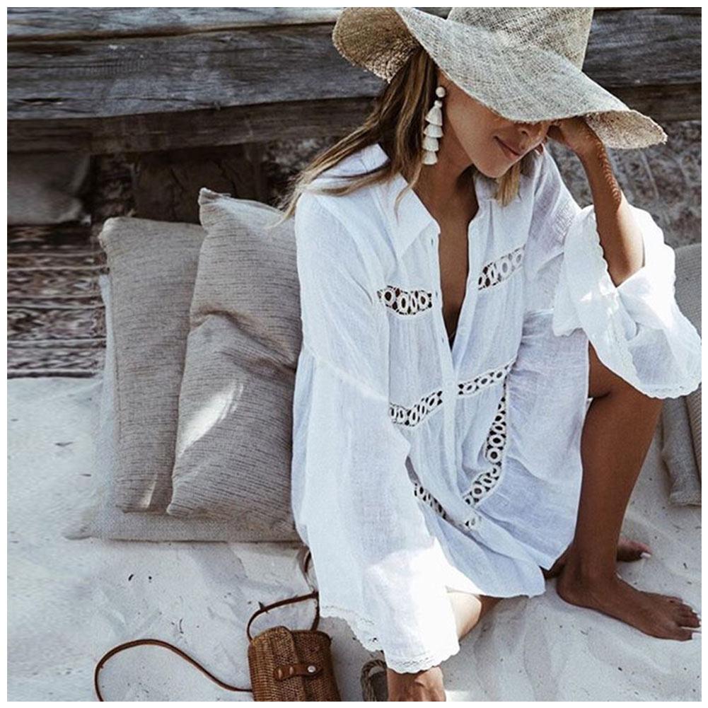 Women Bikini Cover Up Lace Hollow Crochet Swimsuit Summer Beach Dress Ladies Bathing Suit Cover-Ups YS-BUY