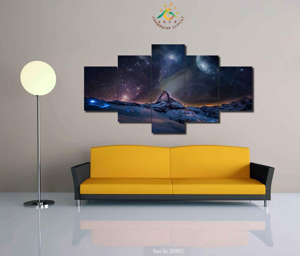 3 4 5 Pieces Star Sky Planet Modern Wall Art Pictures HD Printed ...