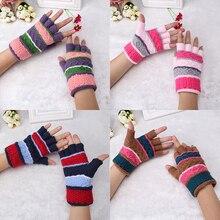 Шерстяные зимние женские детские перчатки, жаккардовые вязаные эластичные перчатки на половину пальцев, теплые перчатки без пальцев