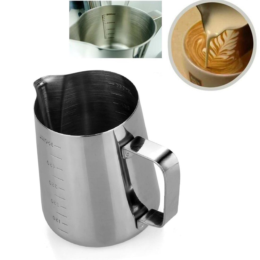 1pcs Silver Latte Coffee Milk Pitcher Jug Cup Dengan Garis 350ml Measurement Stainless Steel 350 600 1000ml Frothing