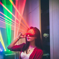New 10 LED Laser Heasd Red Laser Halloween Decoration Laser Illuminated Glasses LED Bar Nightclub Wear Performance Props