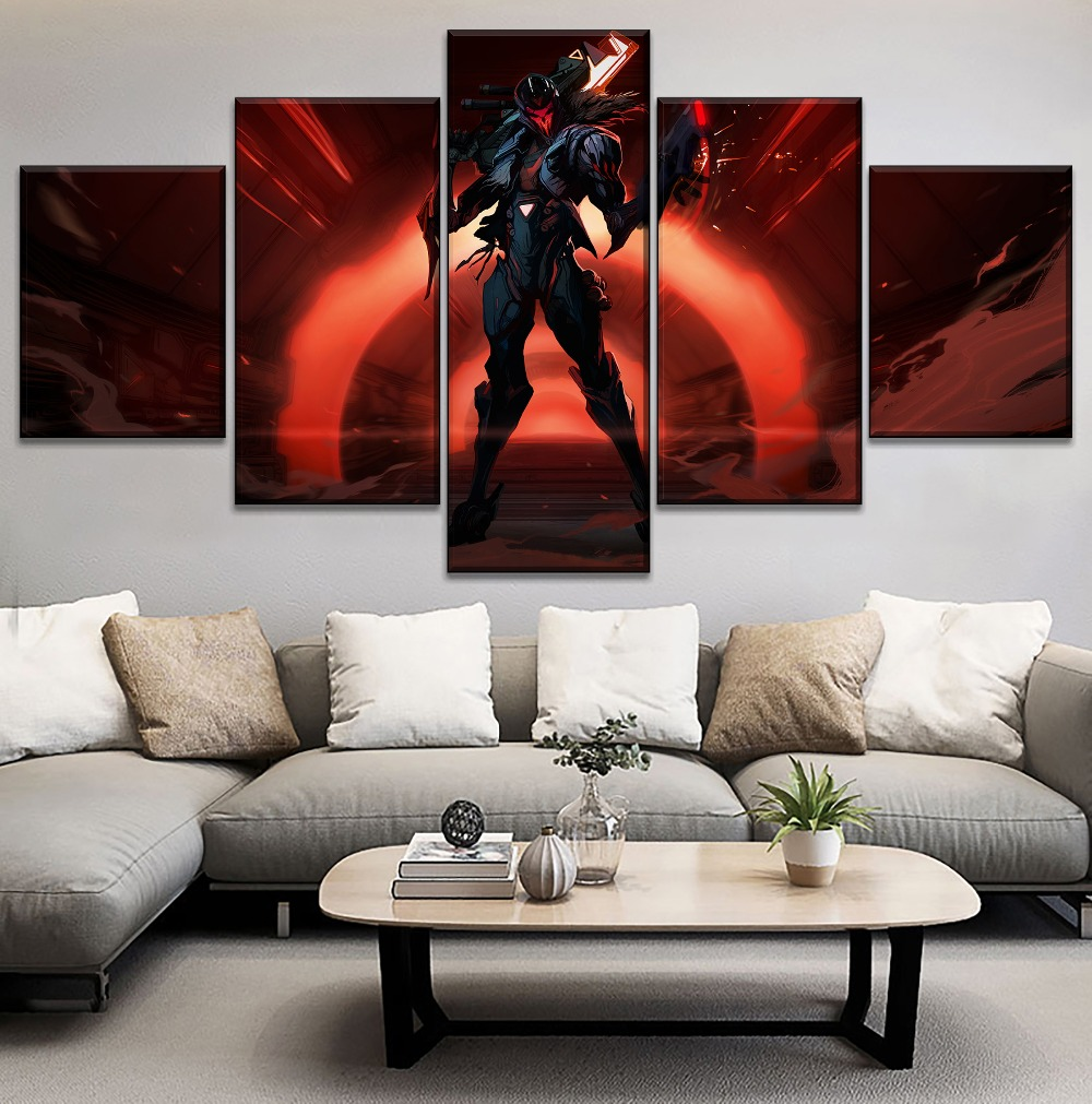 Game Dark Jhin Poster Modern On Canvas Print Type Home Decorative Living Room Wall 5 Piece League Of Legends Modular Painting in Painting Calligraphy from Home Garden
