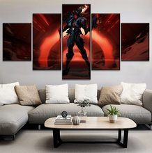 Game Dark Jhin Poster Modern On Canvas Print Type Home Decorative Living Room Wall 5 Piece League Of Legends Modular Painting(China)