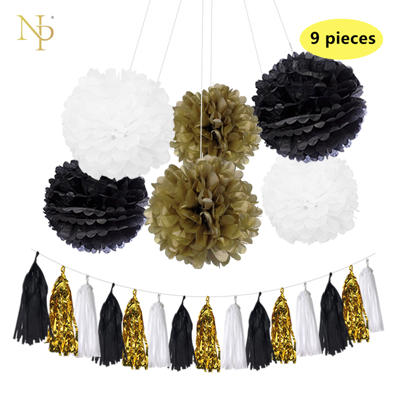 Nicro9 Pcs/Lot Mixed Gold Wihte Black Paper Flowers Paper Tassel Garland DIY Gender Reveal Party Decorative supplies.Nicro9 Pcs/Lot Mixed Gold Wihte Black Paper Flowers Paper Tassel Garland DIY Gender Reveal Party Decorative supplies.