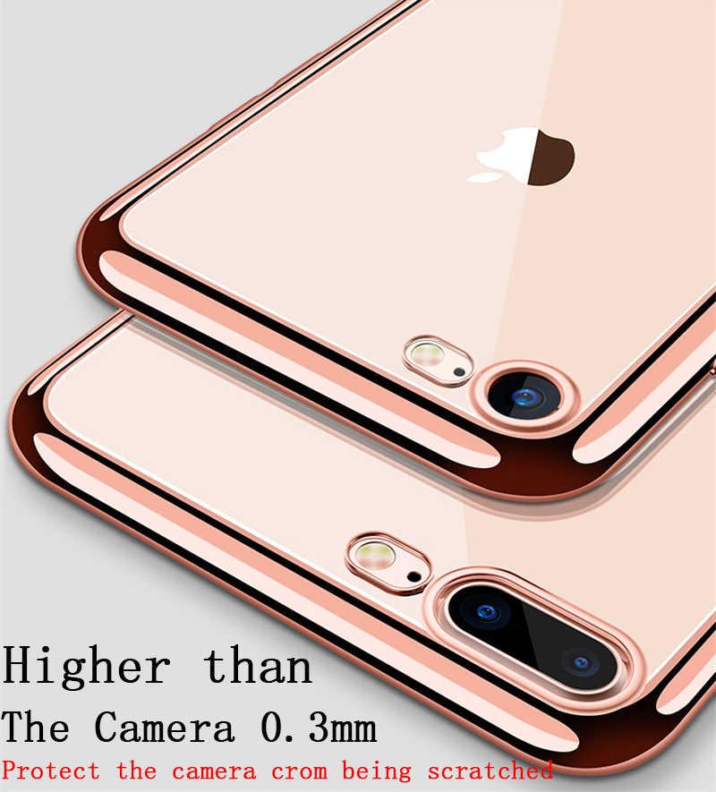 حقيبة لهاتف أي فون 5 SE 6 6S 7 8 Plus طلاء فاخر مذهب شفاف بولي يوريثان سيليكون لينة الحالات الهاتف لتغطية آيفون X XR XS