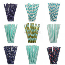New 25pcs/lot  blue drinking paper straws for kids birthday party wedding christmas decoration mickey minnie flag event supplies