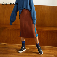 Samstree Winter Knitted Skirt Striped Patchwork Decoration Women Skirt Mid Calf Casual Female Bottom