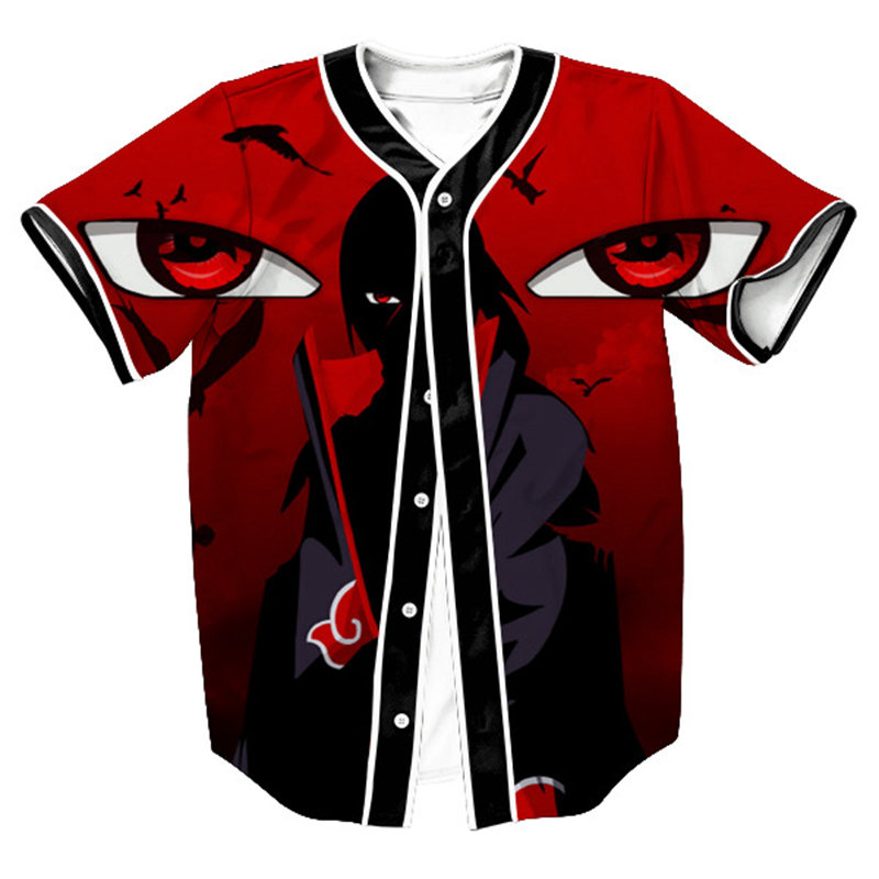 2018 new baseball jersey japanese anime naruto 3d printed for Baseball jersey t shirt custom